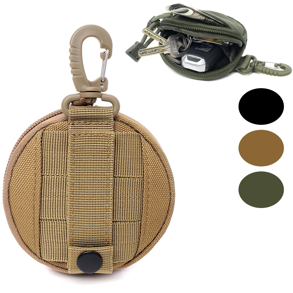 1000D Round Tactical Wallet Pouch Portable Coin Key Pocket For Hunt Waist With Clip Outdoor Accessories Bag EDC Purse