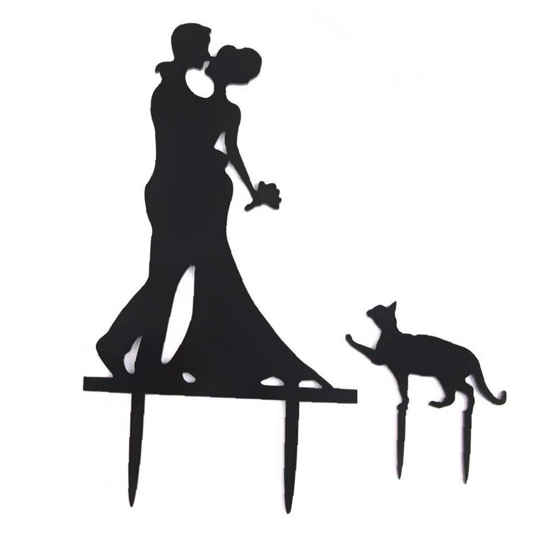 Acrylic Wedding Engagement Party <font><b>Cake</b></font> <font><b>Toppers</b></font> Kissing Bride & Groom with <font><b>Cat</b></font> <font><b>Black</b></font> image