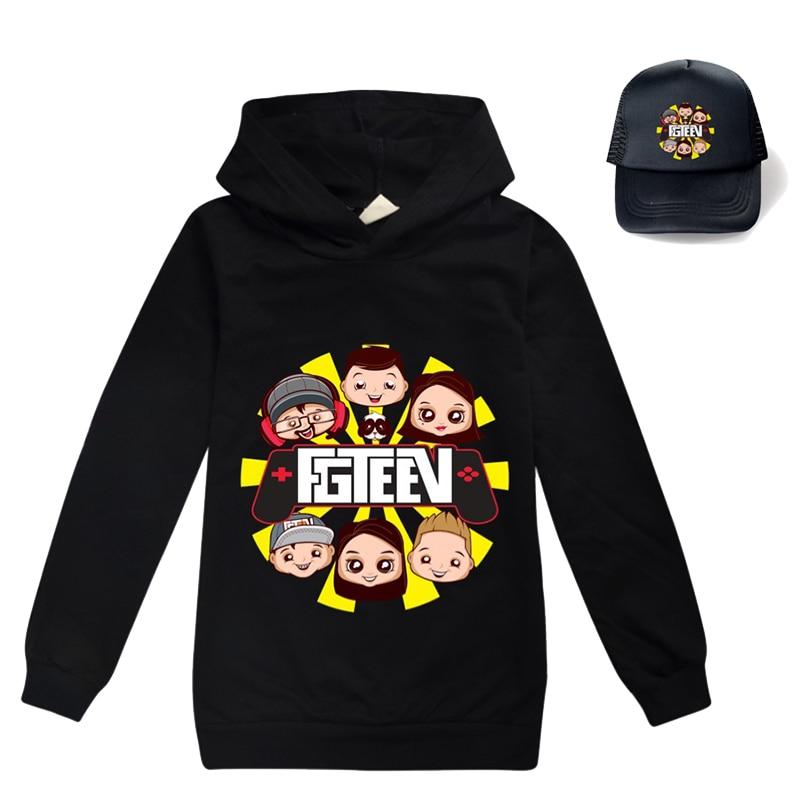 9 colors Clothes Kids Cartoon FGTEEV Boys Girls Hooded Casual Tracksuit Cotton Full Chidren T Shirt Unisex Sport Clothing+sunhat 1