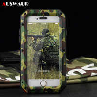 Metal Extreme Shockproof Military Heavy Duty Tempered Glass Cover Case for iPhone 5S 6 6S 7 8 Plus X XS MAX Full-Body Waterproof