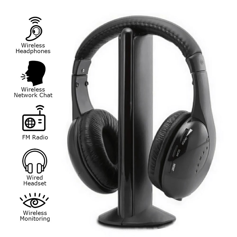 KUBITE MH2001 Wireless Headphones Transmitter On Ear Headset With FM Radio Wireless TV Headset Monitor Earphone For TV PC Smart
