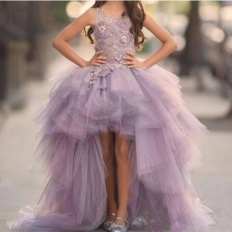 Fashion Appliques Lace Tiered Tank Sleeve A-line   Flower     Girl     Dresses   Vintage Sleeveless Floor Length Chiffon   Girls   Party Gown