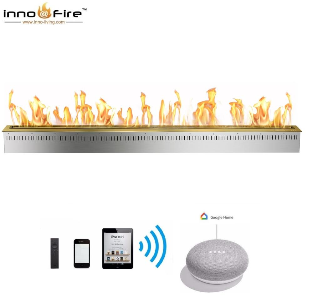 Hot Sale 72 Inches Stainless Steel Automatic Chimney Indoor Remote Ethanol Burner
