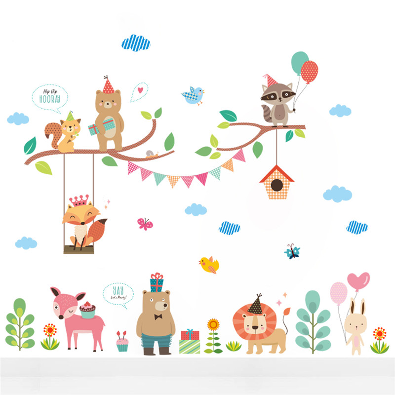 Cute Forest Jungle Wild Zoo Animals Wall Stickers New Year Christmas Balloon Decorations Mural Art Shop Store Window Home Decals