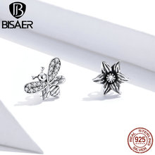 BISAER 925 Sterling Silver Blossom Flower & Bee Stud Earrings Small Earrings Cubic Zirconia For Women Retro Jewelry HSE884 bisaer stud earrings real 925 sterling silver star shape long earrings for women clear cubic zirconia fashion jewelry hve154