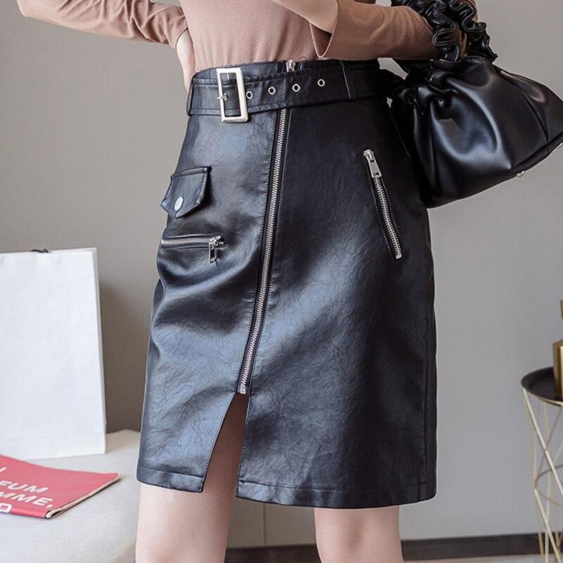 Sashes Zipper PU Leather Skirt Sexy Streetwear Cool Pockets Slim Black Skirt High Waist A Line S-XL Autumn Winter Skirts Womens