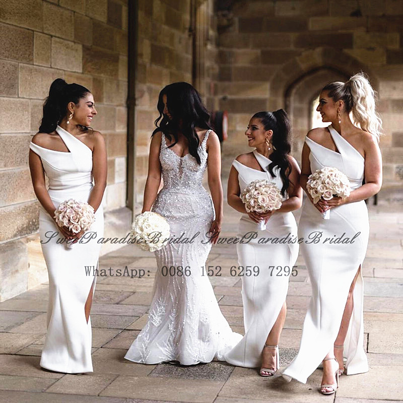 2020 White One Shoulder Bridesmaid Dresses Mermaid Sexy Side Split Mermaid Wedding Party Dress Vestido De Festa De Casamento