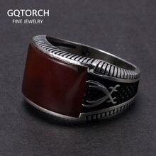 Garantili % 925 ayar gümüş yüzük Retro Vintage türk yüzük erkek yüzük taş kırmızı siyah oniks kaplan gözü türk takı