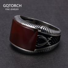 Gwarantowane 925 srebro pierścionki Retro z motywem tureckim w stylu Vintage pierścionki męskie pierścionki z kamieniem czerwony czarny onyks tygrysie oko turecka biżuteria