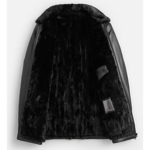 Image 3 - DK Natural Mink Fur Clothing Men Medium Long Winter Warm Leather Genuine Black Slim Sheepskin Leather Jackets