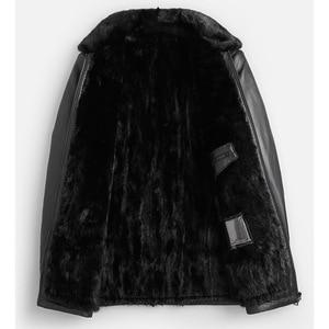 Image 3 - DK الطبيعية فرو منك ملابس الرجال متوسطة طويلة شتاء دافئ جلد طبيعي أسود سليم جلد الغنم سترات من الجلد