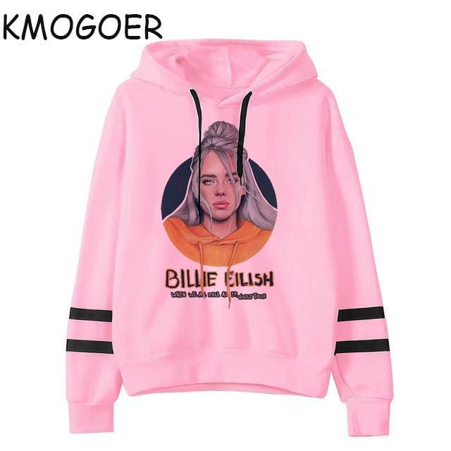2019 Billie Eilish Hoodie Print Pink Hooded Women Sweatshirt Clothes Harajuku Fans Grunge Casual Hoodies Gothic Kpop Sweatshirts