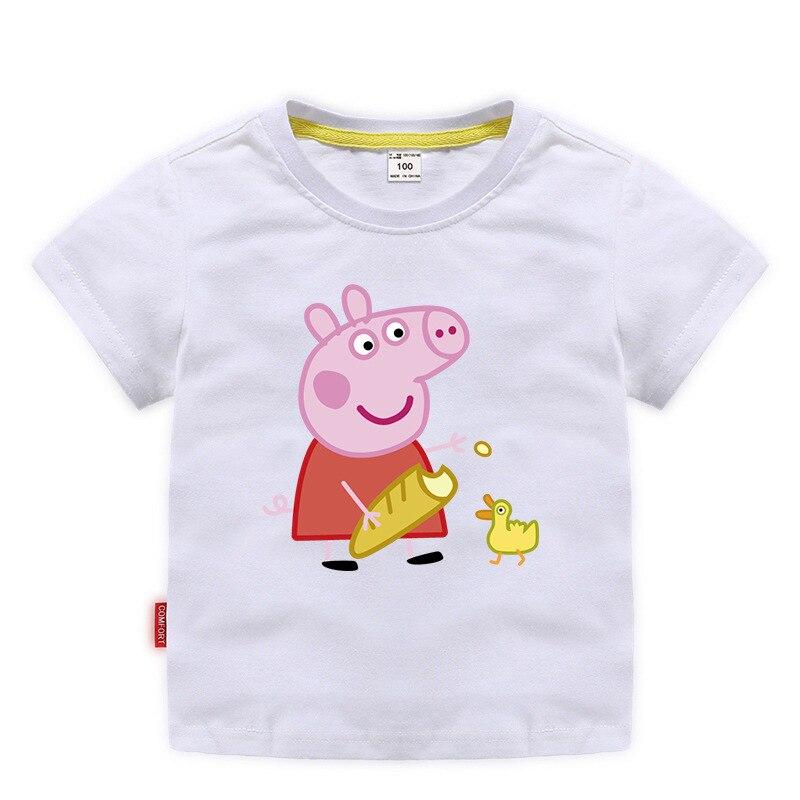 Verano Peppa Pig niño niña manga corta Camiseta Casual bebé Camisa de media manga ropa linda de los niños 2020 nuevo vestido de baile de lentejuelas listo para enviar tamaño US2-US14 vestido para quinceañeras 15 años Formal baile de graduación cumpleaños
