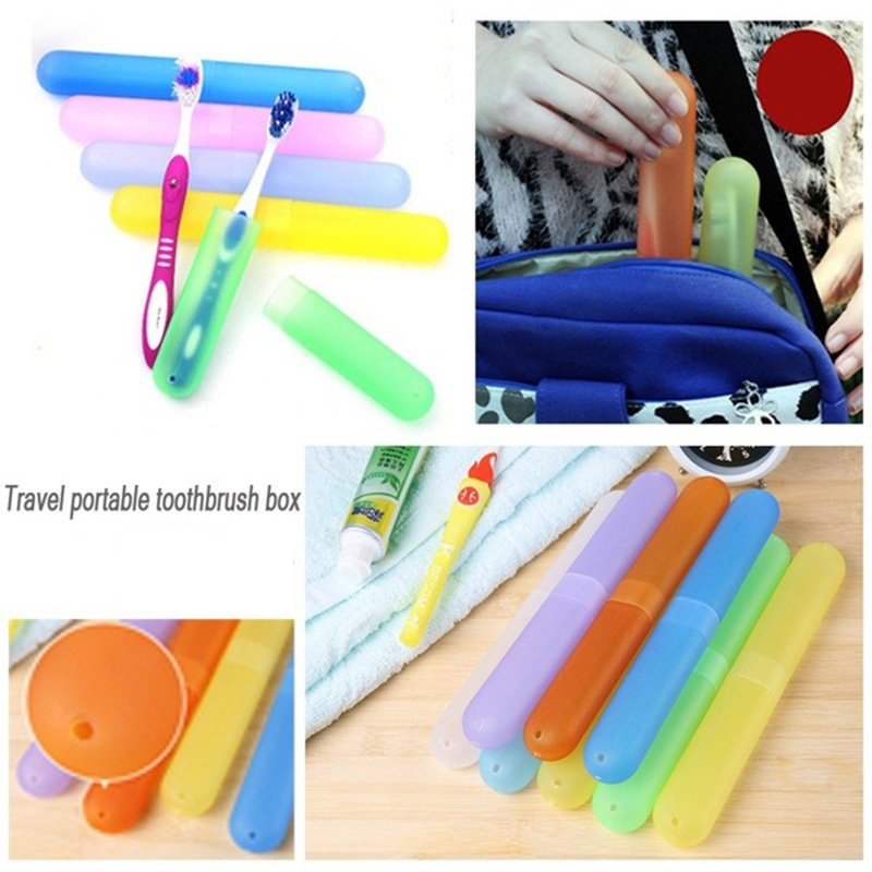 1Pc Empty Toothbrush Containers Box Toothbrush Box Prevent Dust Outdoor Bottles Plastic Portable Travel Toothbrush Tube Bottle