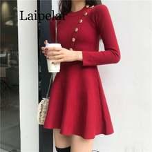 Женское трикотажное мини платье с длинным рукавом и круглым
