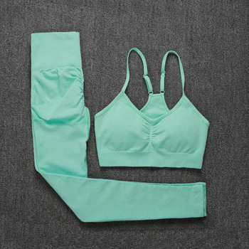 ATHVOTAR Two Piece Set Women Seamless Gym Sports Bra and High Waist Leggings Outfits Solid Color Fitness Tracksuit Women 1