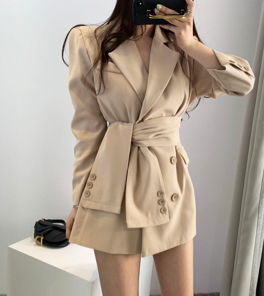 Womens 2019 Blazers Long Sleeve V-neck Suit Fashion Female New Belt Waist Jacket Casual Lady Coat High Quality Women's Blazer