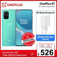 Глобальная прошивка OnePlus 8T, 8 T, OnePlus Official Store, 8 Гб 128 Snapdragon 865 5G смартфон 120 Гц активно-матричные осид жидкости Экран 48MP Quad камеры 4500 мА/ч, 65 Вт Warp;...