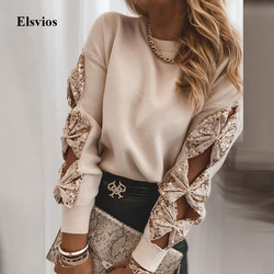 Sexy Hollow Out Strik Lovertjes Tops Shirt Vrouwen Casual O Neck Patchwork Losse Blouse Lente Herfst Lange Mouw Trui Blusa