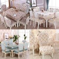 High quality European Linen Dining Table cloth set Decor 1PCS Lace Tablecloth Round ectangle 6PCS Chair Cover Bundle sale