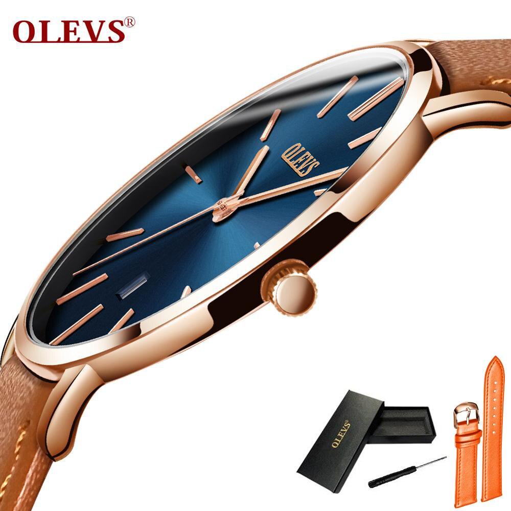 Ультра тонкие мужские часы лучший бренд класса люкс Натуральная кожа повседневные Кварцевые водонепроницаемые наручные часы для мужчин s ...