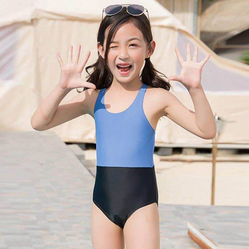 New Style Bathing Suit CUHK Boy Girl Triangular One-piece Swimwear Tight Spa Resort Tour Bathing Suit South Korea