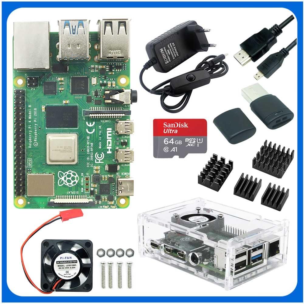Raspberry Pi 4 Model B Kit + алюминиевый чехол + теплоотвод + 3 А переключатель питания + Micro HDMI опция 64 32 Гб SD карта | Ридер Прямая поставка