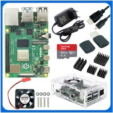 Raspberry Pi 4 Modell B Kit + Aluminium Fall + Kühlkörper + 3A Schalter Power + Micro HDMI Option 64 32GB SD Karte | Reader dropship