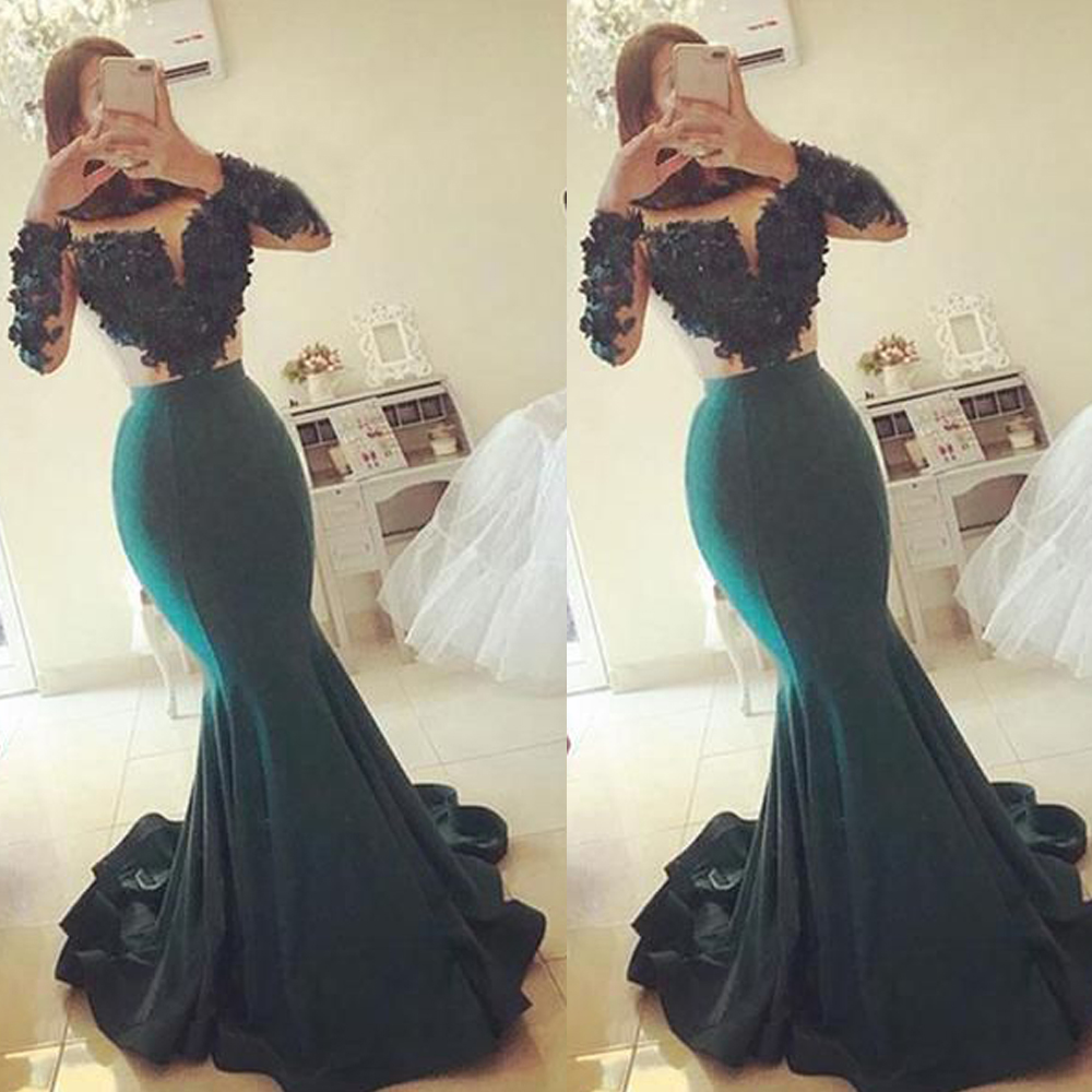 Mermaid Prom Dresses 2020 Sheer Crew Long Sleeve Lace Hand Made Flowers Green Satin Evening Dresses