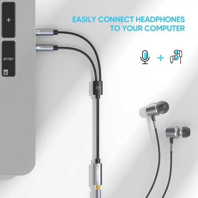 Ugreen Splitter Headphone for Computer 3.5mm Female to 2 Male 3.5mm Mic Audio Y Splitter Cable Headset to PC Adapter 3