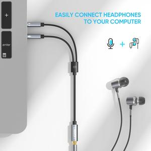 Image 3 - Ugreen ספליטר אוזניות עבור מחשב 3.5mm נקבה ל 2 זכר 3.5mm מיקרופון אודיו Y ספליטר כבל אוזניות כדי מחשב מתאם