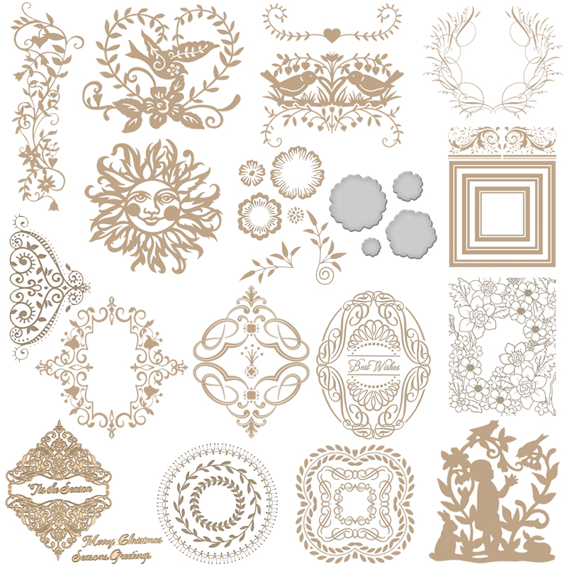 Flower Wreath Leaves Hot Foil Plate Metal Cutting Dies Square Frame Stencils For DIY Scrapbooking Album Decor Embossing Die
