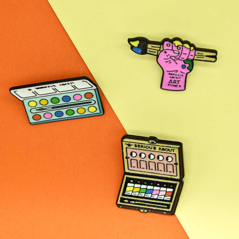 XEDZ Fashion Keyboard Pelukis Papan Gambar Kuas Cat Lukisan Bubuk Kotak Rakasa Merah Muda Lukisan Tangan Bros Kepribadian Seni D