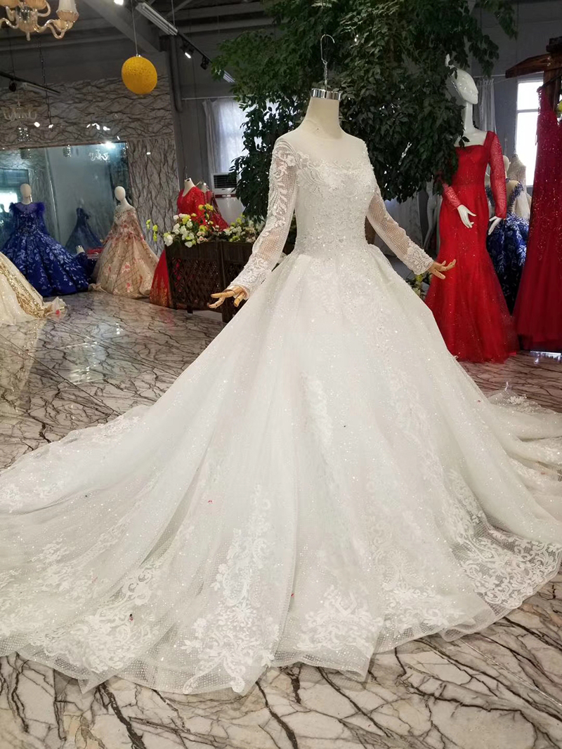 Image 4 - BGW HT42911 Simple Wedding Dress For Girl O neck Long Sleeves Princess Wedding Gowns With Train CasamentoWedding Dresses   -