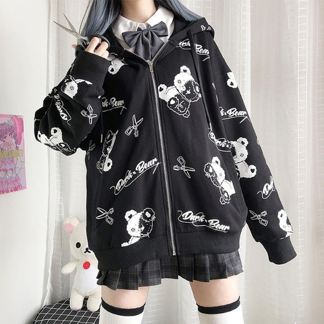 Deeptown Gothic Sweatshirt Women Black Zip Up Hoodie Fashion Autumn Winter Clothes Women Hoodies Korean Long Sleeve Emo Pullover 1