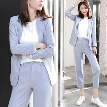 Two Piece Sets Women New Korean Suit Jacket Nine Pants + Blazer Fashion Gray Black Khaki Office Ladies Pants Suit Famale Formal(China)