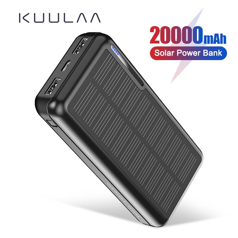 KUULAA – chargeur solaire Portable, 20000 mAh, 20000 mah, batterie externe USB étanche pour lextérieur