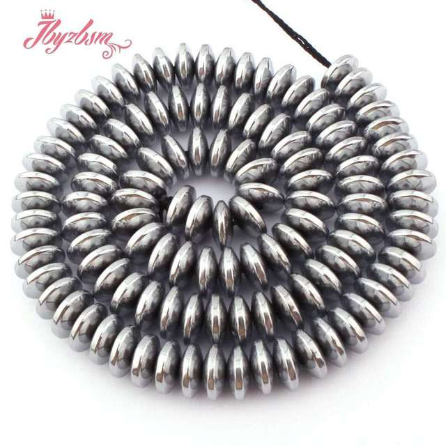 large hole,rondelle,wheel,heishi,faceted,spacer beads for necklace bracelet 10pcs 12mm Gray silver Hematite gemstone