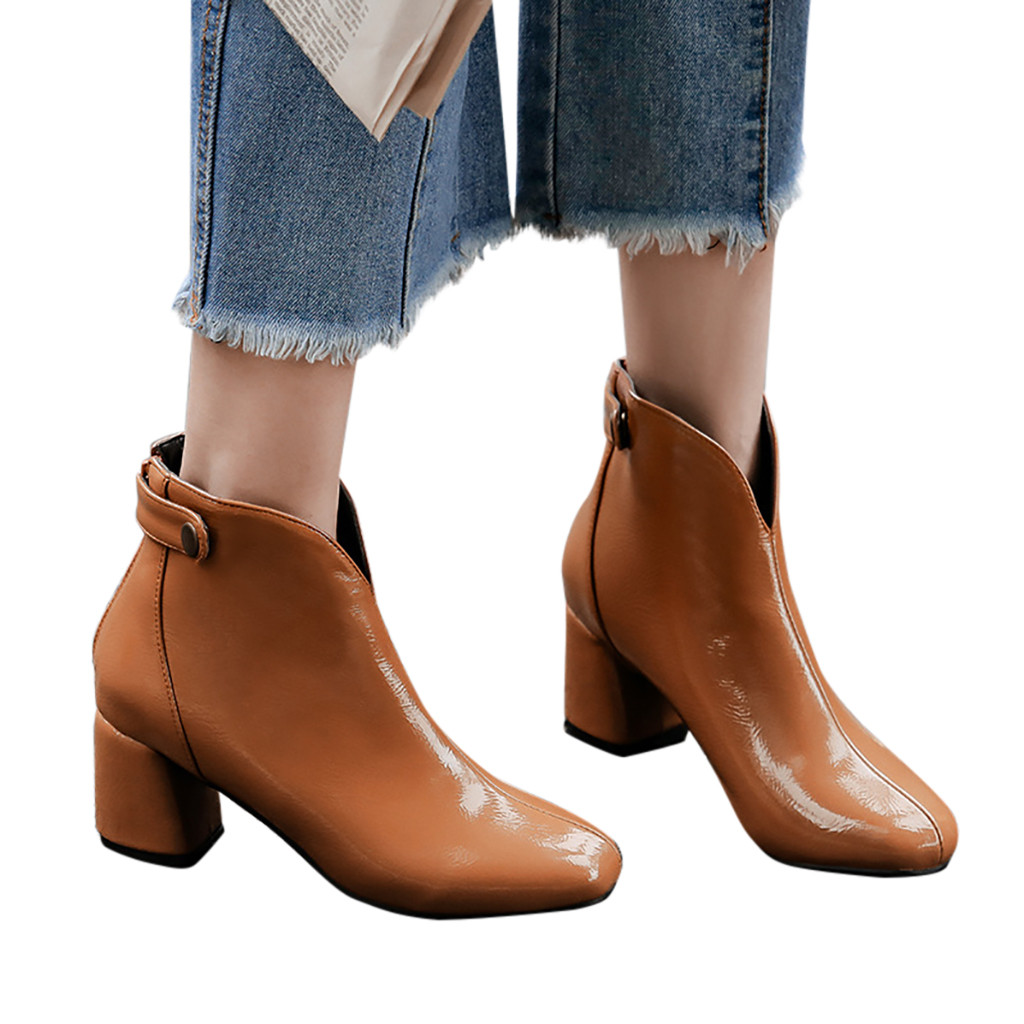 SAGACE Ankle-Boots Heels Rivets Women High-Quality Ladies Zipper for Side