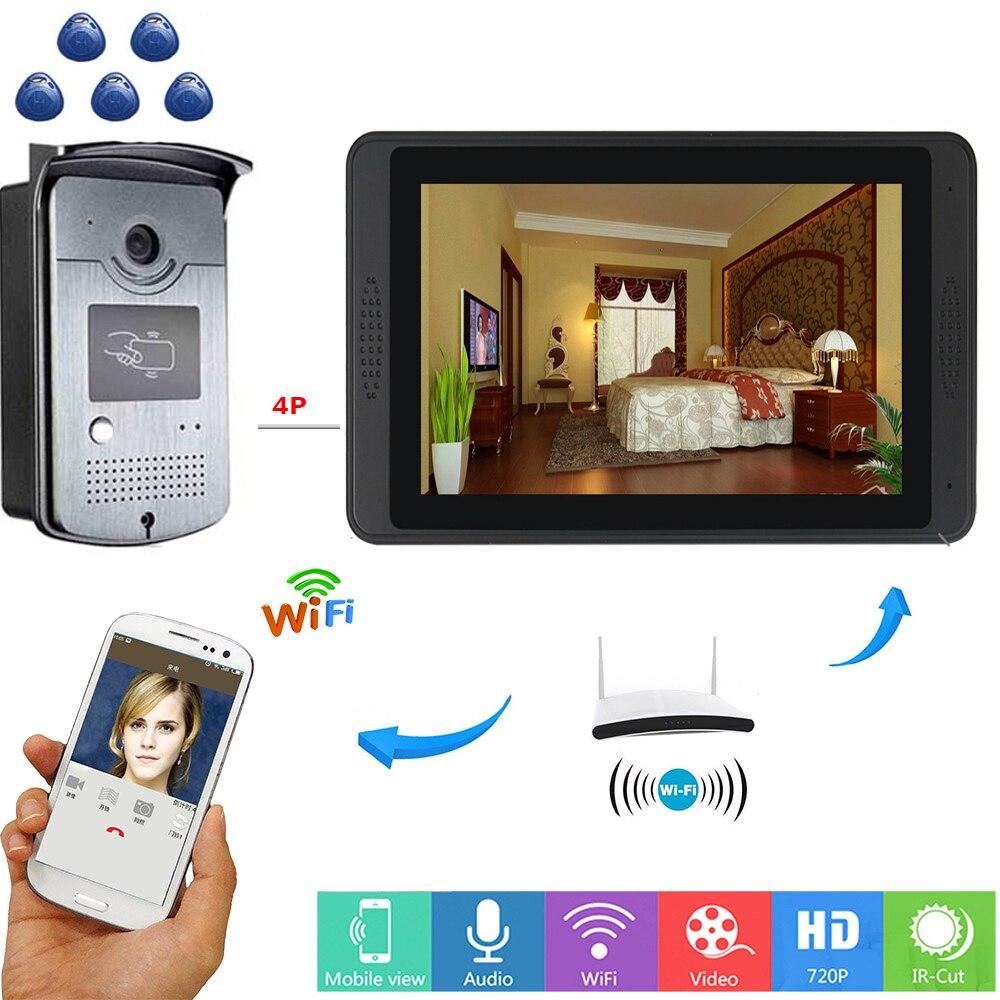Yobang Security RFID Access Control Video Intercom 7 Inch Monitor Wifi Wireless Door Phone Doorbell Visual System