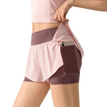Women 2 In 1 Running Shorts Elastic Waist Running Tight Yoga Short Woman Sports Short