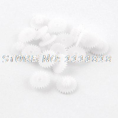 20 X White Plastic 1.3cm Diameter Double Layer Toothed Wheel Gear