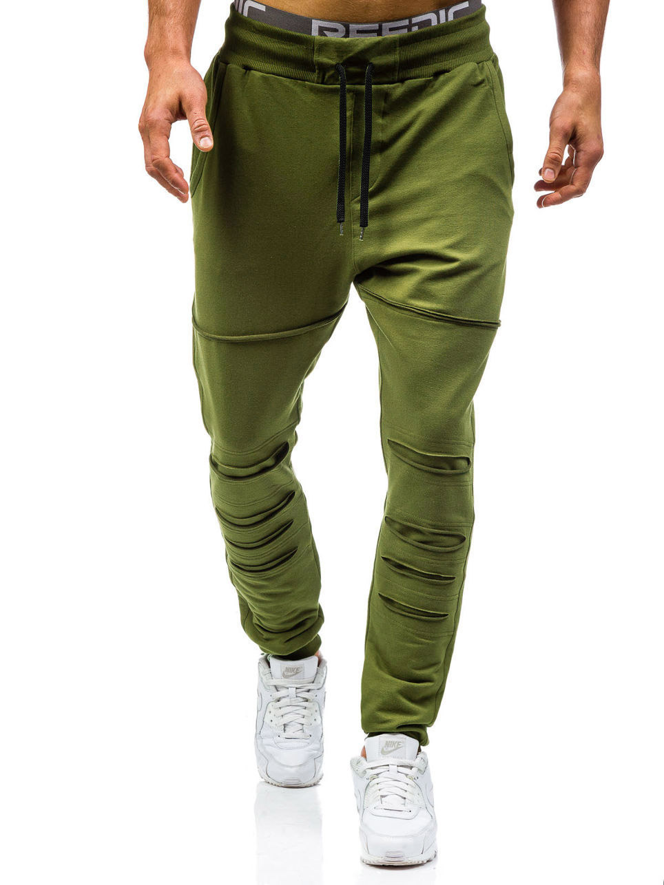 AliExpress Autumn Clothing New Style Men With Holes Double Pocket Solid Color Casual Pants Large Size Beam Leg Sports Harem Pant