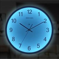 Luminoso relógio de parede 12 Polegada silencioso luzes da noite led luminoso relógios decorativos design moderno sala estar quarto decoração nórdico