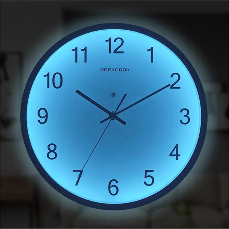 Reloj mural luminoso 12 pulgadas luces nocturnas silenciosas LED decoración con luz relojes diseño moderno Sala dormitorio decoración Nórdica Tabla Periódica de elementos, arte de pared, símbolos químicos, reloj de pared, pantalla educativa, elemento, reloj de aula, regalo de maestro