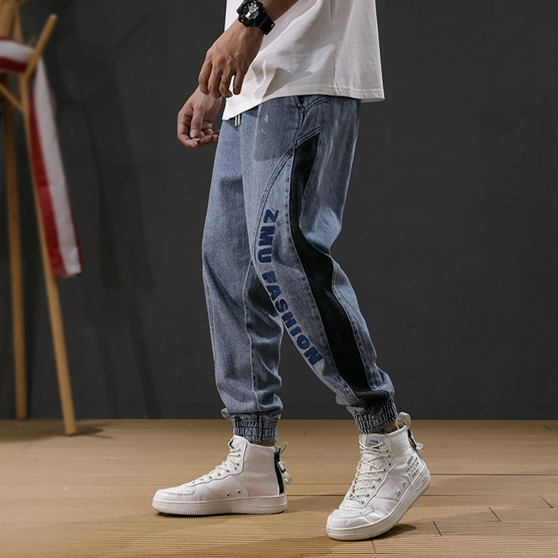 Newly Fashion Designer Men Jeans Loose Fit Embroidery Spliced Cargo Pants Harem Jeans Streetwear Youth Hip Hop Jeans Men Joggers