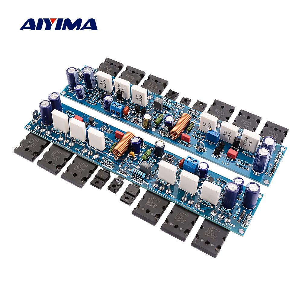 AIYIMA 2Pcs L10 Power Amplifier Board 300W HiFi 2.0 Channel Class AB Sound Amplifiers Amp Transistor A1930 C5171 TT1943 TT5200