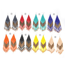 New hot sale rice beads earrings fashion bohemian exaggerated DIY handmade ethnic style