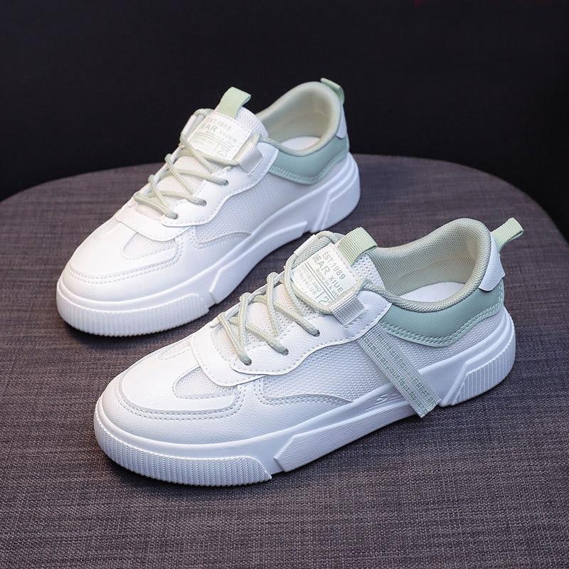 SWQZVT Summer Autumn Sneakers Women Breathable Flat Lace-up Women Vulcanize Shoes White Walking Leather Female Casual Shoes 2020 (10)