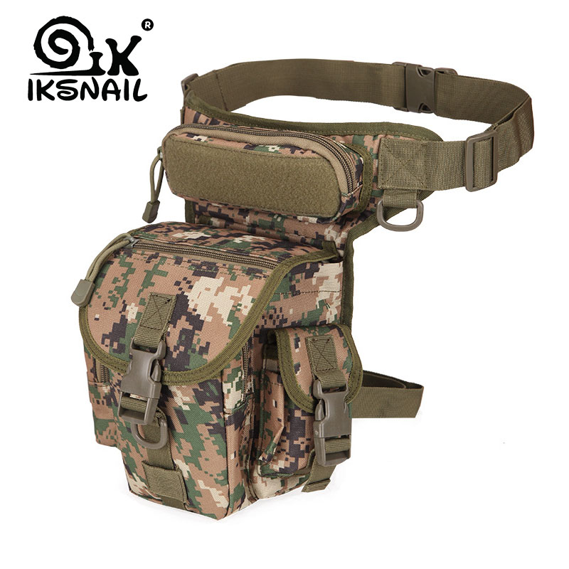 IKSNAIL Tactical Sport Bag Drop Leg Army Bags Fanny Camping Hiking Trekking Military Shoulder Saddle Nylon Multi-function Pack
